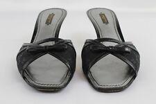 92be4a1030a7 Louis Vuitton Black Monogram Open Toe Kitten Heel Bow Details Mules Size  40 10