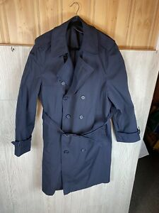 Vintage Long US Military Army 44reg Blue Rain Trench Coat Mens All Weather