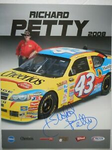 Richard Petty signed 2008 #43 CHEERIOS Dodge CHARGER Nascar 8.5x11 Hero Card