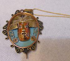 Copper & Silver Pendant Mexican Unique Pendant/Becklace Aztec