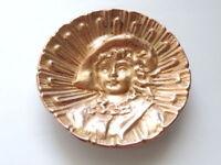 Heavy Vintage Antique Bronze Brass Etched Decorative Table Plate Dish Home Decor