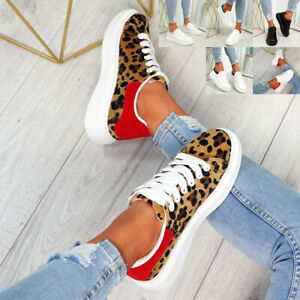 WOMENS PLATFORM TRAINERS LACE UP TWO TONE LADIES SNEAKERS PLIMSOLL WOMEN SHOES