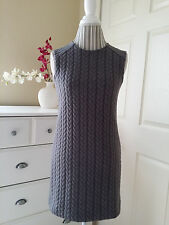 Cynthia Rowley Womens Gray Stretch Textured Knit Shift Sleeveless Dress Sz.S