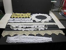 VINTAGE HEAVY HANDMADE CROCHET LACE EDGING LOT OF (7) PIECES
