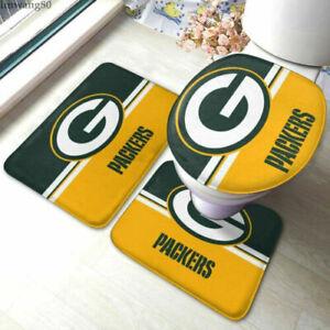 Green Bay Packers 3PCS Bathroom Set Bath Rugs Non-Slip Mat Toilet Lid Covers