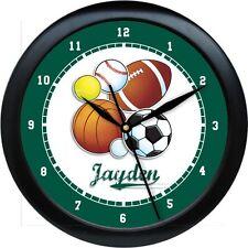 PERSONALIZED SPORTS WALL CLOCK BASKETBALL BASEBALL FOOTBALL SOCCER BOYS ROOM