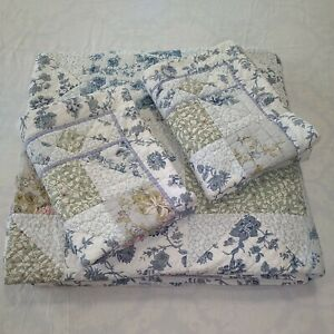 LL Bean Reversible Patchwork Quilt Full/Queen w/2 Pillow Shams Blue Multicolor