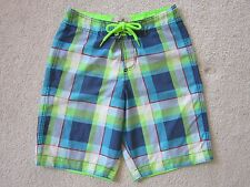 4c85c5bcc8 Hollister Boardshorts Swim Trunks Men's Size XS Blue Neon Green Plaid  Unlined