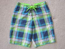 4c85c5bcc8 Hollister Boardshorts Swim Trunks Men's Size XS Blue Neon Green Plaid  Unlined