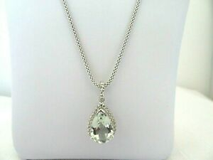 4.66 ct Natural Green Amethyst & White Topaz Solid Sterling Silver Drop Necklace