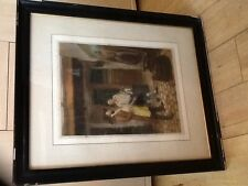Framed mezzotint engraving the sign painter by t Hamilton Crawford c 1880-1920