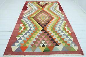 """Turkish Milas Kilim Rug, Livingroom Rug, Area Rug, Carpet, Wool Kelim 66""""x105"""""""