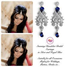 INDIAN Bollywood Lampadario di Cristallo d'Argento Dangle Orecchini Da Sposa Argento Blu R