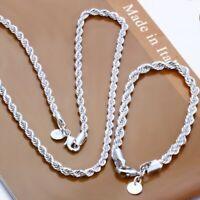 Damen Schmuckset Kette+Armband 925er Silber plt und gestempelt Edel