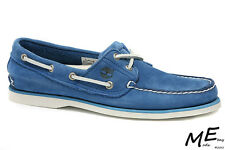 New Timberland Classic Boat 2 Eye Leather Blue Men Shoes Sz 8 (MSRP$140) 6628R