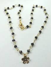 """Artisan Black Crystal Chain Necklace with Flower 16 3/4"""" long Handmade Wedding"""