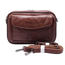Genuine Leather Mens Handbag Wrist Gadget Manbag Crossbody Shoulder bag Camel