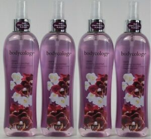 (4 Bottles) Bodycology Dark Cherry Orchid & Empress Peach Fragrance Mist 8 Oz