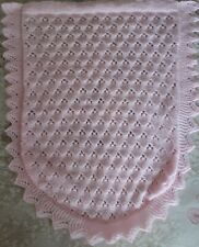 Pink Hand Knitted baby Car Seat Blanket