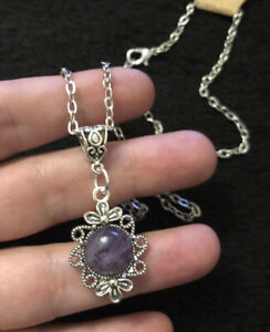 "Amethyst Stone Cameo Necklace Pendant Charm 18"" Chain Silver Native American"