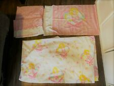 Vintage 1997 Barbie Sweet Dreams Bed Set Twin Flat Fitted and Pillowcase
