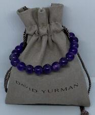 David Yurman Sterling Silver 8'mm Amethyst Spiritual Bead Bracelet Adjustable