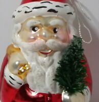 BLOWN GLASS Santa Claus Holding Tree CHRISTMAS ORNAMENT Hand Painted GERMANY