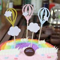 5Pcs Hot Air Balloons Cake Toppers Happy Birthday Baby Shower Cupcake Supplies