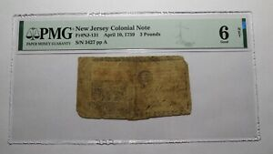 1759 £3 New Jersey NJ Colonial Currency Bank Note Bill PMG G6 RARE Issue!