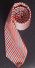 Harvie & Hudson Corbata De Seda en Rojo Beige Azul oscuro con rayas diagonales en casi como nuevo-Cond