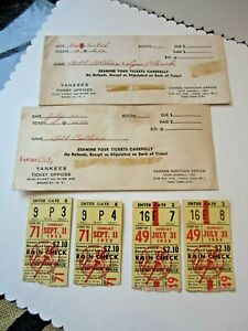 LOT VINTAGE NEW YORK YANKEES 1955 RAIN CHECK TICKET STUBS ENVELOPE 9/11 7/31