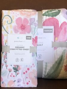 POTTERY BARN KIDS Flora TODDLER Quilt & floral Organic CRIB Sheet - NEW