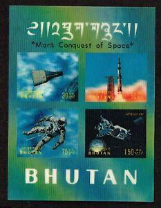 BHUTAN - 1970 Conquest of Space   minisheet 3D    -  no.2224