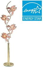 Pink and Gold Four Flower Shade Floor Lamp 73 in. Gold Colored Metal Plug In