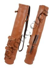 NEW REAL LEATHER GOLF BAG CLUB & BALL TWO POCKETS, HANDMADE FREE SHIPPING