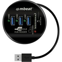 HCR518 MBEAT 3 Port USB Hub and Card Reader Usb3.0 Portable and Tuck-Away Cable