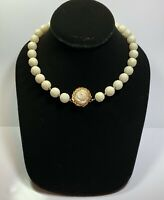 Vintage 14k Gold Flower Clasp Carved White Coral Bead Necklace