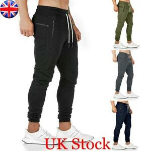Mens Gym Fit Trousers Tracksuit Bottoms Slim Skinny Joggers Sweat Track Pants UK