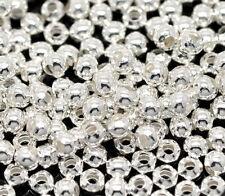 1000 Perles Intercalaires Argenté Lisse Ronde 3mm