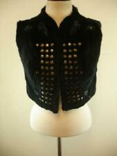 Womens M L Sheri Bodell Rabbit Fur Vest Jacket Black Studded Embroidered Cropped