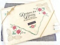 NOS Sunweave Christmas Pointsettia Placemats & Napkins Embroidered and Crocheted