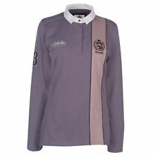 Requisite Long Sleeve Rugby Polo Shirt Womens Heather Top T-Shirt Horse Riding