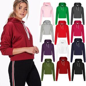 Womens Girls Crop Top Pullover Hoodies Soft Sweatshirts Ladies Jumpers