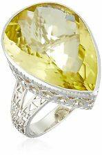 Sterling Silver 19ct Yellow Lemon Quartz Pear Shape Ring Size 5 Large Statement