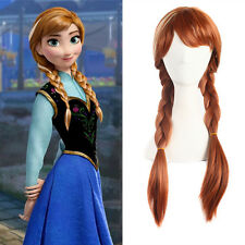 Brown Cosplay Party Costume Wig For Frozen Snow Queen Anna Wigs+ Free Cap