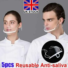 5x Clear Mouth Shield Anti Saliva Plastic Face Cover Catering Chef Mask Reusable