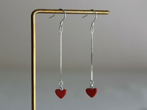 Silver chain and red heart drop earrings Modern Minimal earrings Gift for her