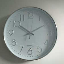 Round Silver Wall Clock White Face Kitchen Round  Shiny Silver Wall Clock new