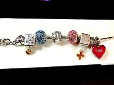 DAZZLING BRIGHTON SILVER PLATED PINK RHINESTONE RED LUCITE HEART CHARM BRACELET
