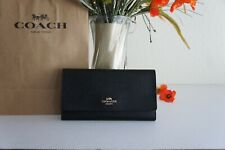 NWT Coach F79868 Trifold Wallet In Crossgrain Leather Black $250